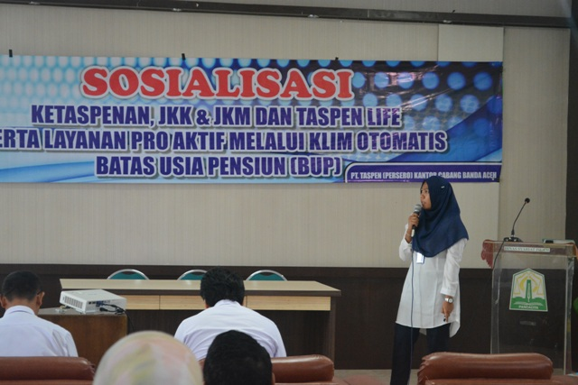Penyampaian Materi Taspen Life Kepada ASN Dinas Syariat Islam Aceh 2018