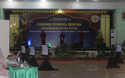 Grup syarhil putri asal Aceh saat tampil pada saat babak final di Pascasarjana UINSU, kamis (11/10/2018) pagi.
