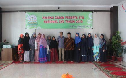 Para Peserta yang terpilih berfoto bersama di gedung LPTQ Aceh pada Minggu (17/3/2019) sore.