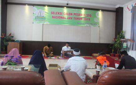 Para calon peserta STQN XXV saat diuji kemampuannya yang berlangsung di Gedung LPTQ Aceh pada Selasa (12/3/2019).