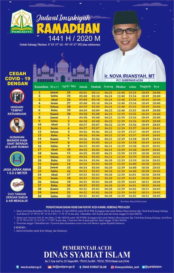Jadwal Imsakiyah Ramadhan 1440 H Untuk Provinsi Aceh Dapat Dilihat Per Kabupaten Kota Dinas Syariat Islam Aceh