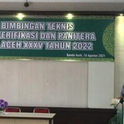 Kepala UPTD PPQ Hamdani, S. Ag., MH saat membuka bimtek bagi tim verifikasi dan panitera MTQ Aceh XXXV tahun 2022 di aula gedung LPTQ aceh, Kamis (19/8/2021) pagi.