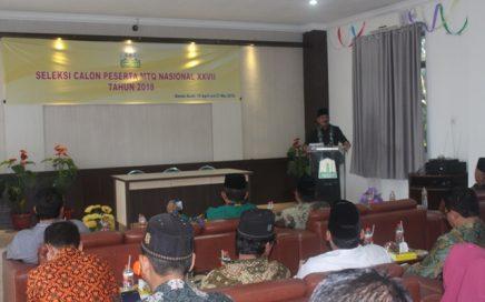 Drs. Ridwan Johan saat memberikan laporan panitia dalam kegiatan pembukaan seleksi calon peserta MTQN XXVII tahun 2018 di aula LPTQ Aceh, kamis (19/04/2018) pagi.