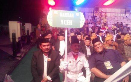 Kadis DSI Aceh sekaligus ketua kafilah Aceh menghadiri acara pembukaan MTQ XXVII tingkat Nasional yang berlangsung di kompleks gedung serbaguna T Rizal Nurdin, Deli Serdang, Medan, Minggu malam (7/10/2018).