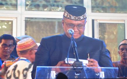 Wakil Bupati Pidie Fadhlullah TM Daud saat memberikan laporannya pada penutupan tingkat Provinsi Aceh ke XXXIV 2019 di gampong Lampeudeu Baroh, Kabupaten Pidie, Jumat malam (27/09/2019).